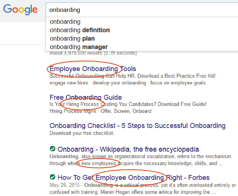 Google results for Employee Onboarding
